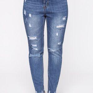 Distressed Mom jeans Dark Denim